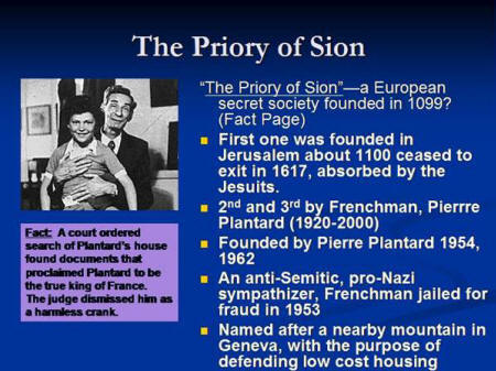 """the priory of sion in the novel the da vinci code by dan brown In the da vinci code, author dan brown claims that the priory of sion """"is a real organization"""", """"a european secret society founded in 1099"""": """"in 1975 paris bibliothèque nationale discovered parchments known as les dossiers secrets, identifying numerous members of the priory of sion, including sir isaac newton, botticelli, victor hugo, and leonardo da vinci."""